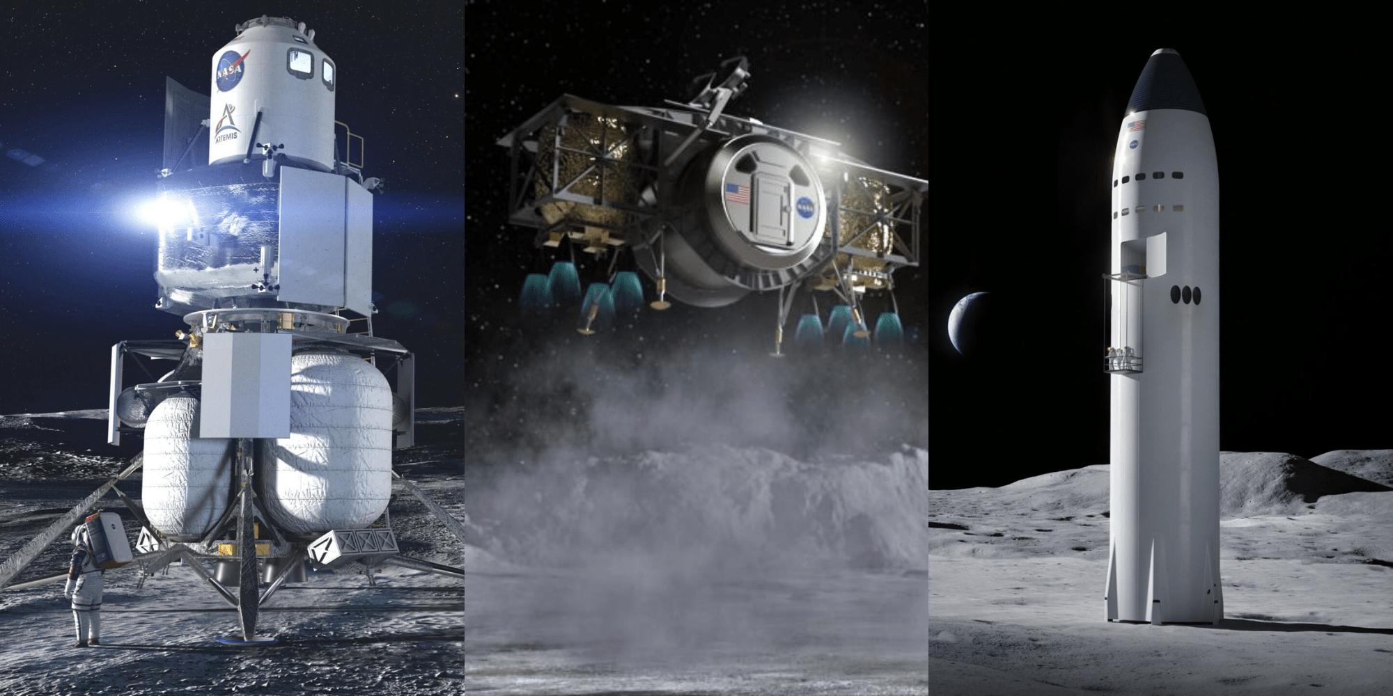 I tre lander finanziati dal programma HLS (confronto non in scala)