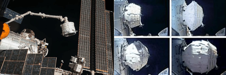 Sinistra: trasferimento di BEAM nel boccaporto posteriore del modulo Tranquillity, dopo aver raggiunto la ISS tramite la missione Falcon 9/Space X CRS-8 . Destra: processo di espansione del BEAM (2016). Credits: NASA