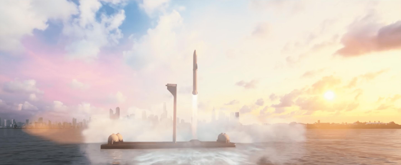 Un render di Starship e del Super Heavy in partenza da uno spazioporto off-shore al largo di una città. Credits: SpaceX.