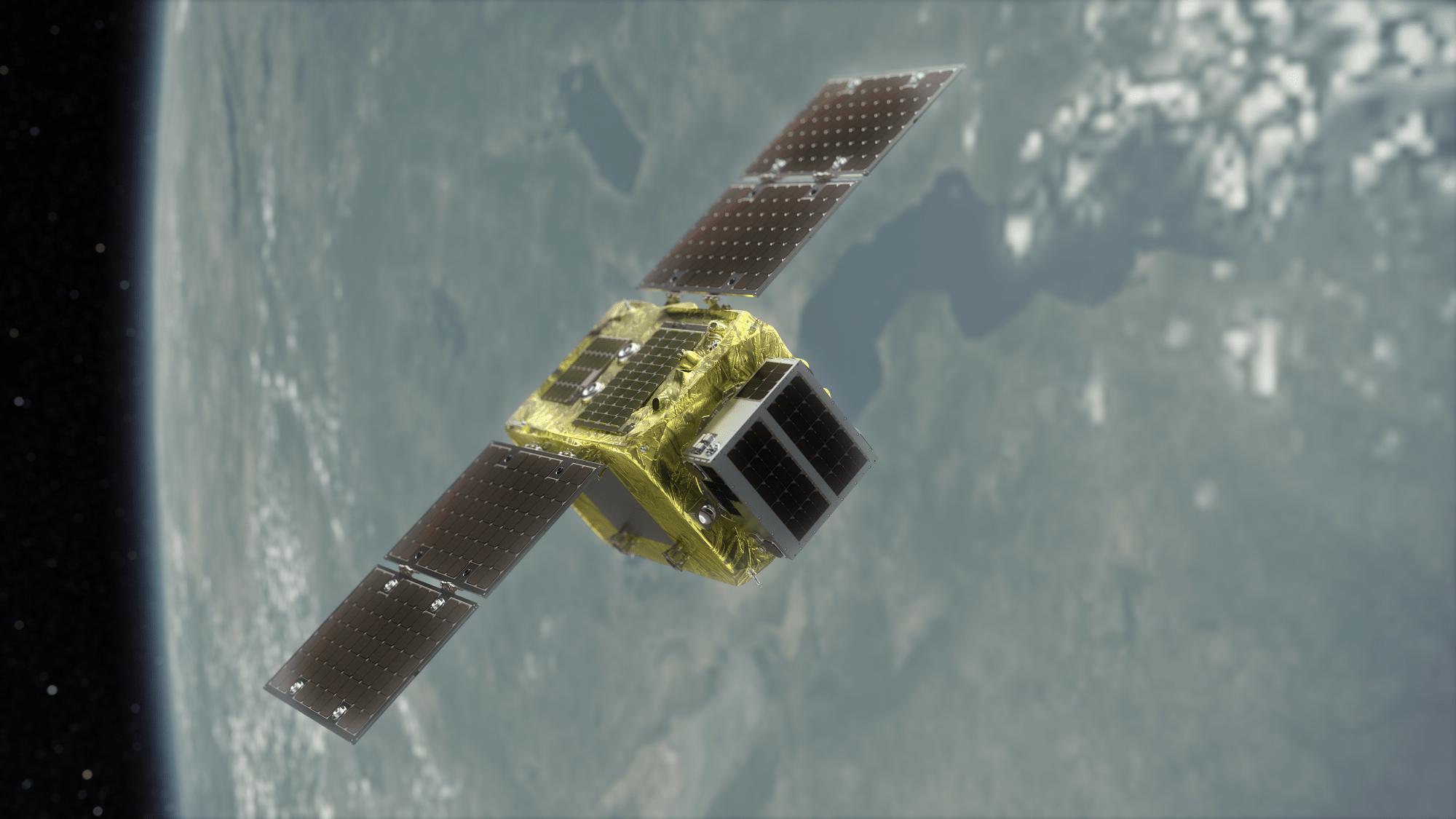 Un render dei due satelliti Astroscale: il Target e il Chaser. Credits: Astroscale