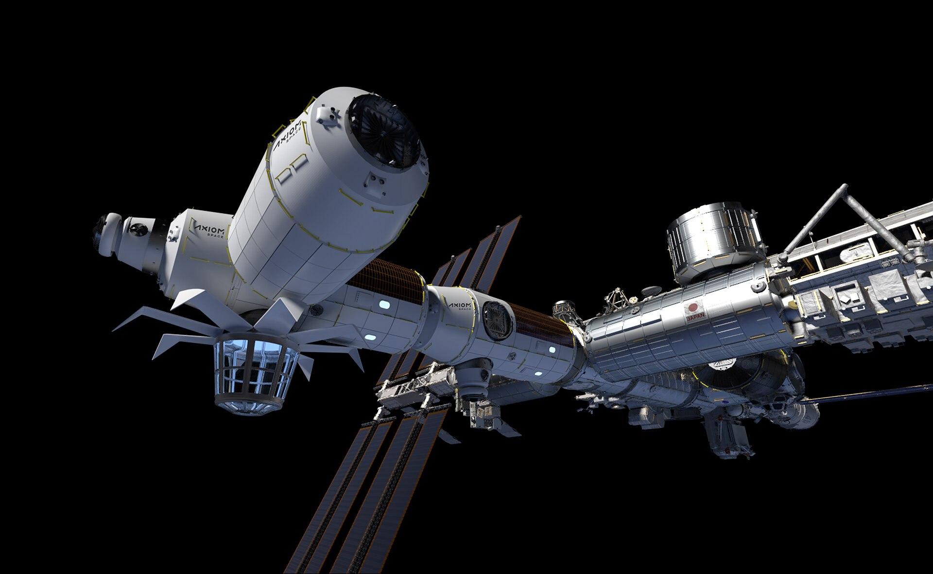 Un render di come dovrebbe essere la stazione spaziale di Axiom nel 2026, ancora attraccata alla ISS. Credits: Axiom Space
