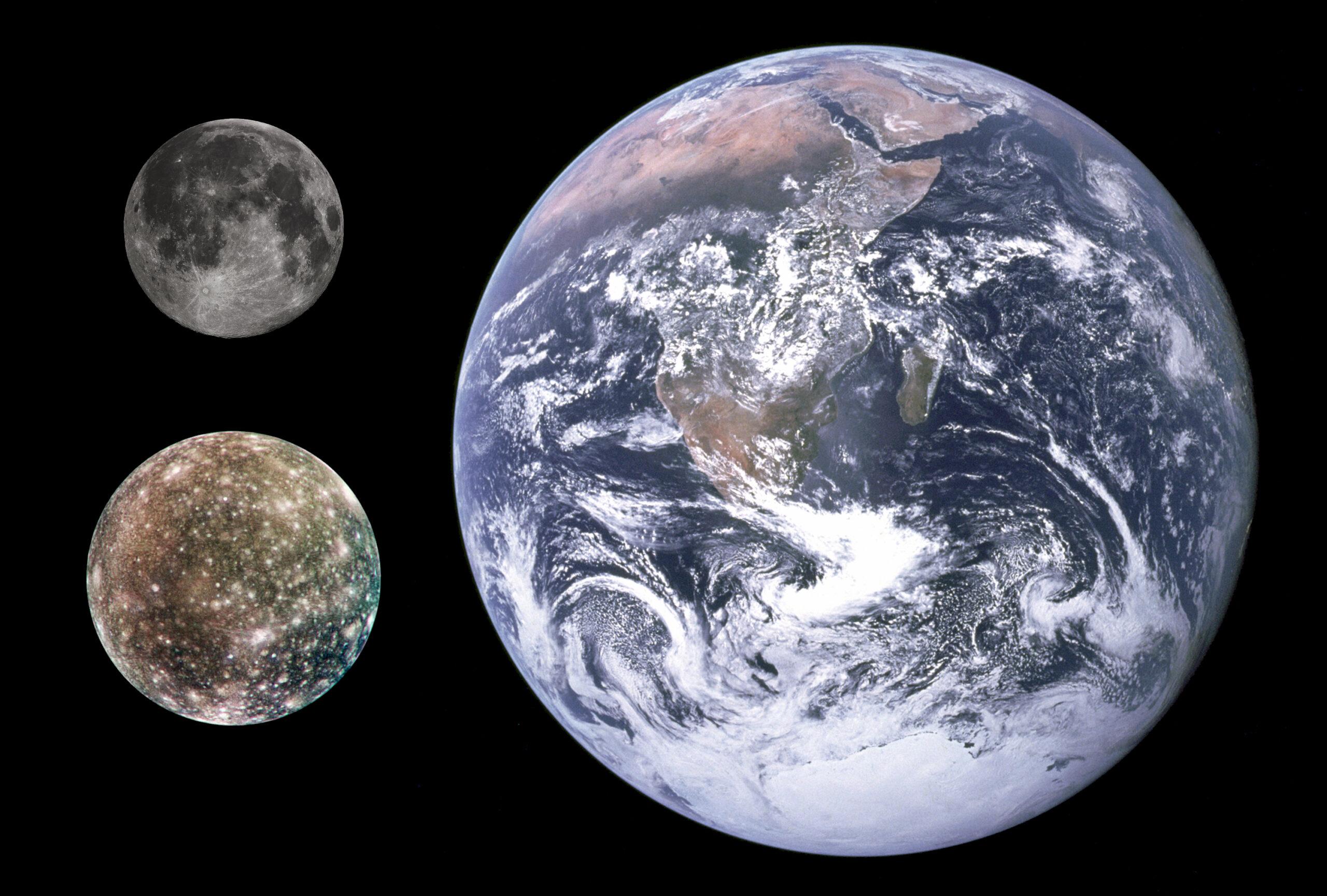 Confronto in dimensioni fra la nostra Luna, Callisto e la Terra.
