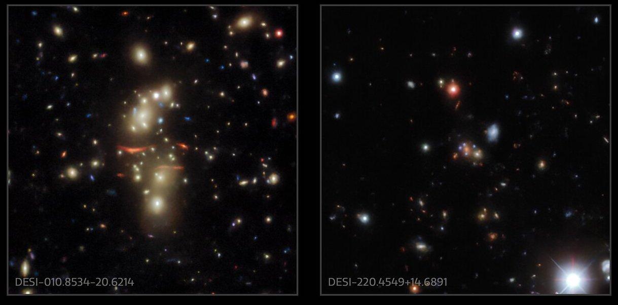 Un esempio di lenti gravitazionali trovate analizzando i dati del DESI. Credits: KPNO/CTIO/NOIRLab/NSF/AURA/Legacy Imaging Survey
