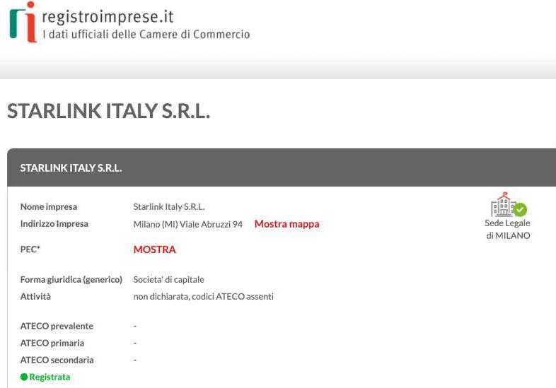Registrazione di Starlink Italy SRL. Credits: Registroimprese.it/Astrospace.it
