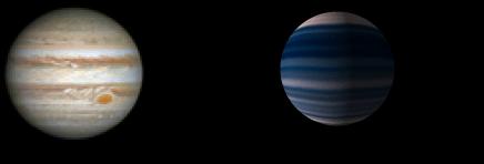 Un render grafico in scala del pianeta DH Tau B sulla destra, affiancato a Giove. Credits: NASA/ESA A. Simon.