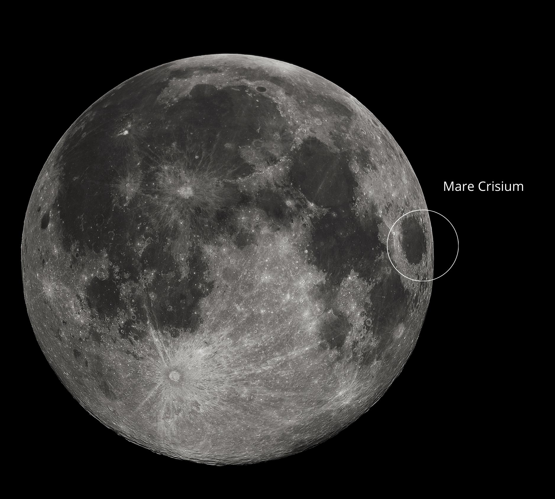 Mare Crisium sulla Luna, dove allunerà il Lander Ghost Blue.