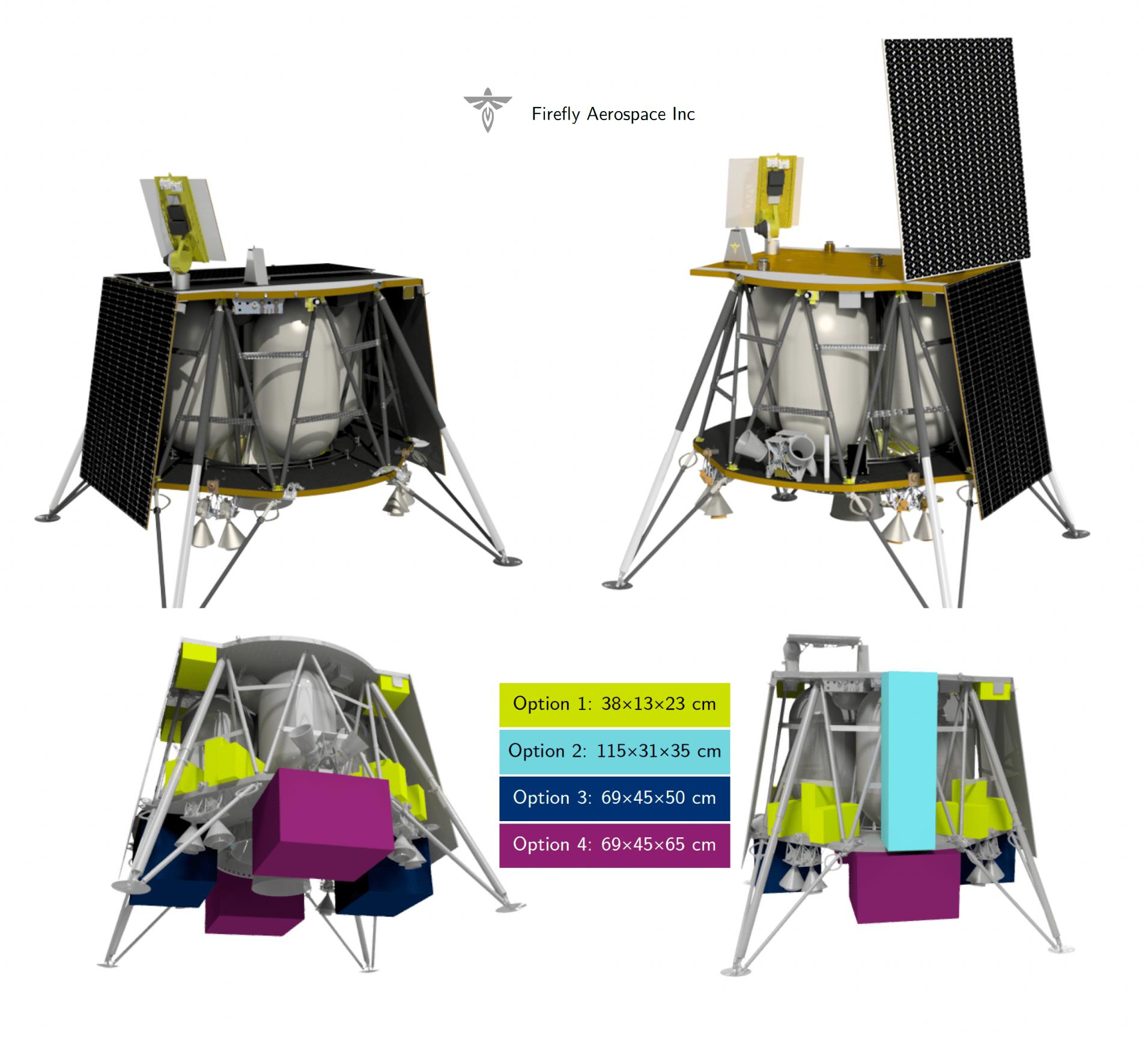 Sopra il Lander Ghost Blue nelle due configurazioni, variabili in base alla latitudine di allunaggio. In basso le varie posizioni in cui inserire i Payload. Credits: Firefly Aerospace.