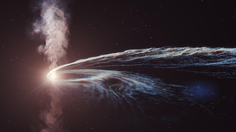 Render artistico dei getti di gas emessi dal disco di accrescimento del buco nero. Credits: Desy, Science Communication Lab