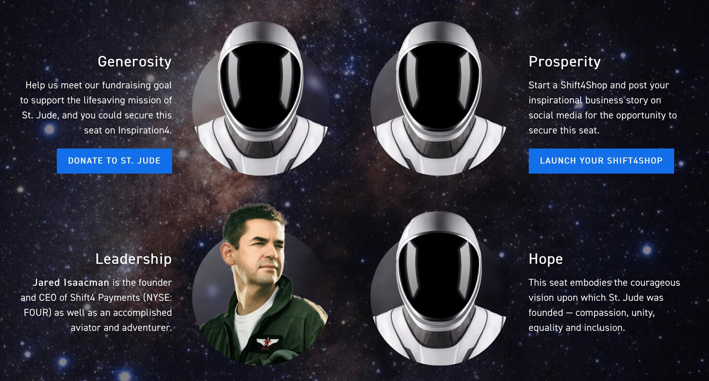 I quattro passeggeri di Inspiration4. Credits: Inspiration4/SpaceX.