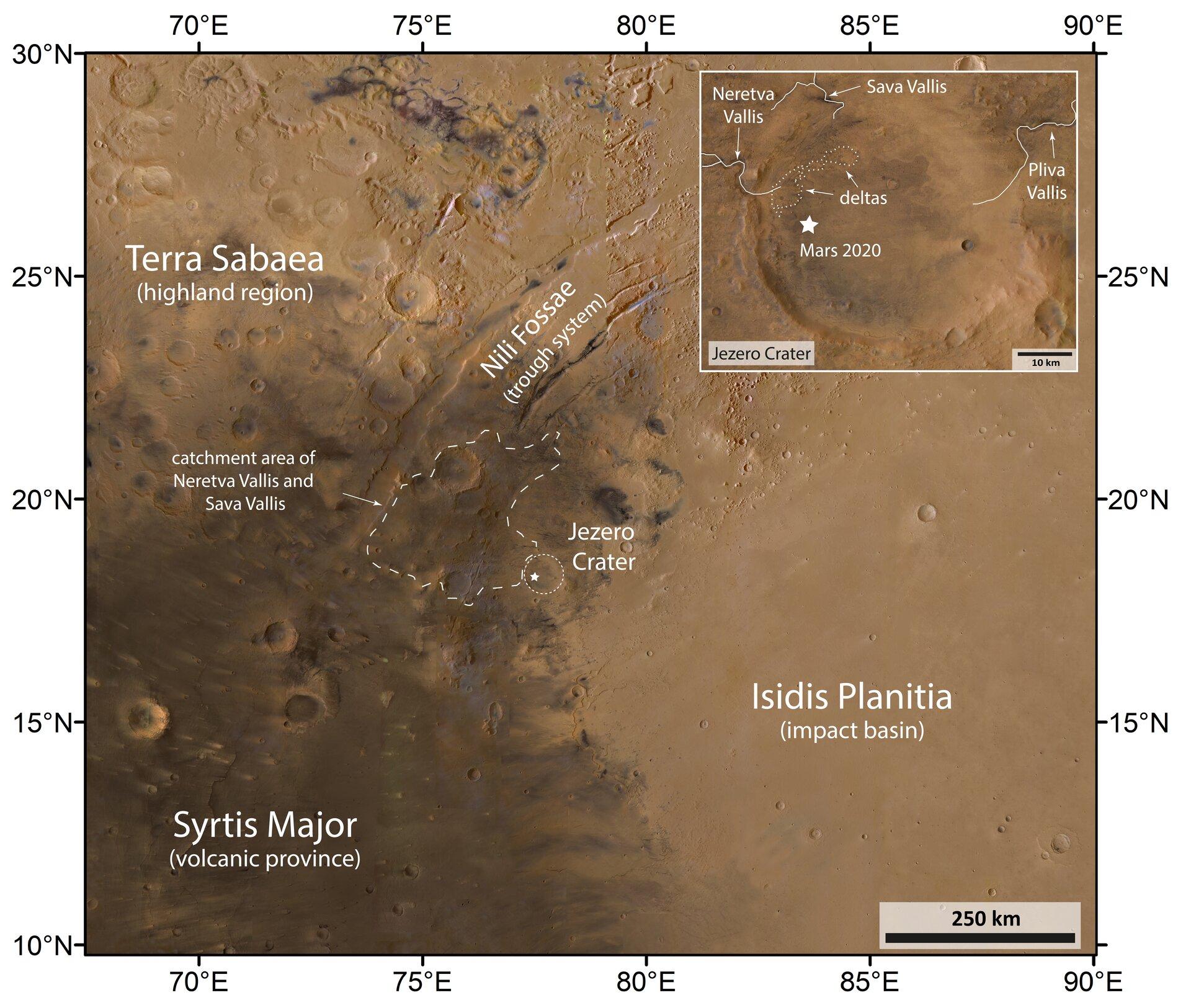 Il cratere Jazero e la zona circostante. credits: ESA/DLR/FU