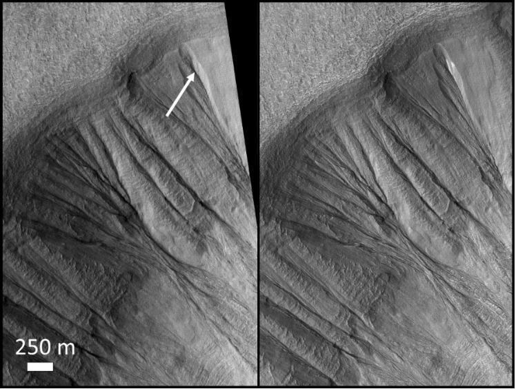 Confronto delle immagini studiate da Christensen e Khullen. A destra, l'immagine ad alta risoluzione analizzata da Khuller in cui si può ben osservare il ghiaccio polveroso esposto e potenzialmente sciolto, che si trova nella stessa posizione individuata da Christensen nell'immagine a bassa risoluzione a sinistra. Credits: NASA/JPL/University of Arizona