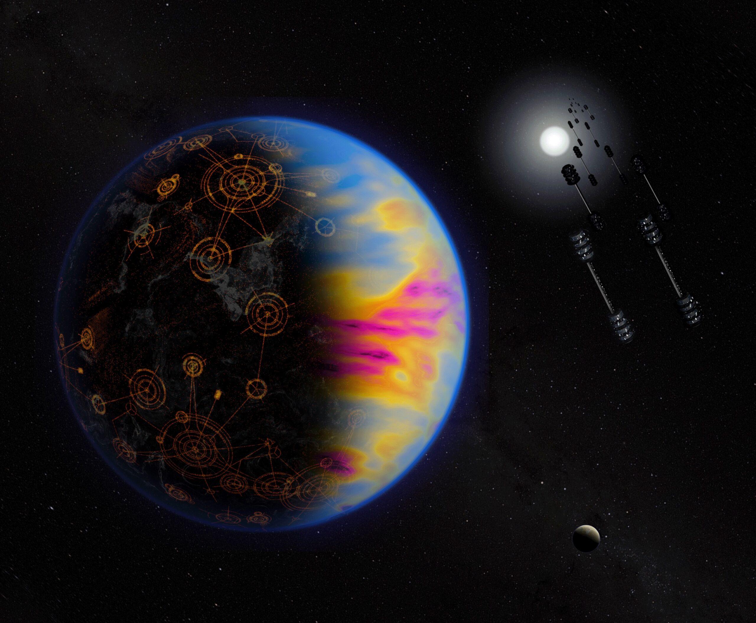 Illustrazione di un pianeta abitato da una civiltà e vita sviluppata. I colori dell'atmosfera, appositamente esagerati, indicano l'inquinamento provocato dai processi industriali. Credits: NASA/Jay Freidlander