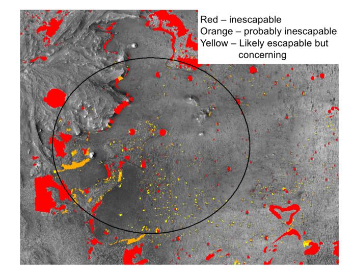 """Zone da evitare a causa del terreno cedevole. Questa è una delle """"hazard maps"""" che vengono considerate durante la scelta del sito di atterraggio. Credits: A. Nelessen et al., """"Mars 2020 Entry, Descent, and Landing System Overview,"""""""
