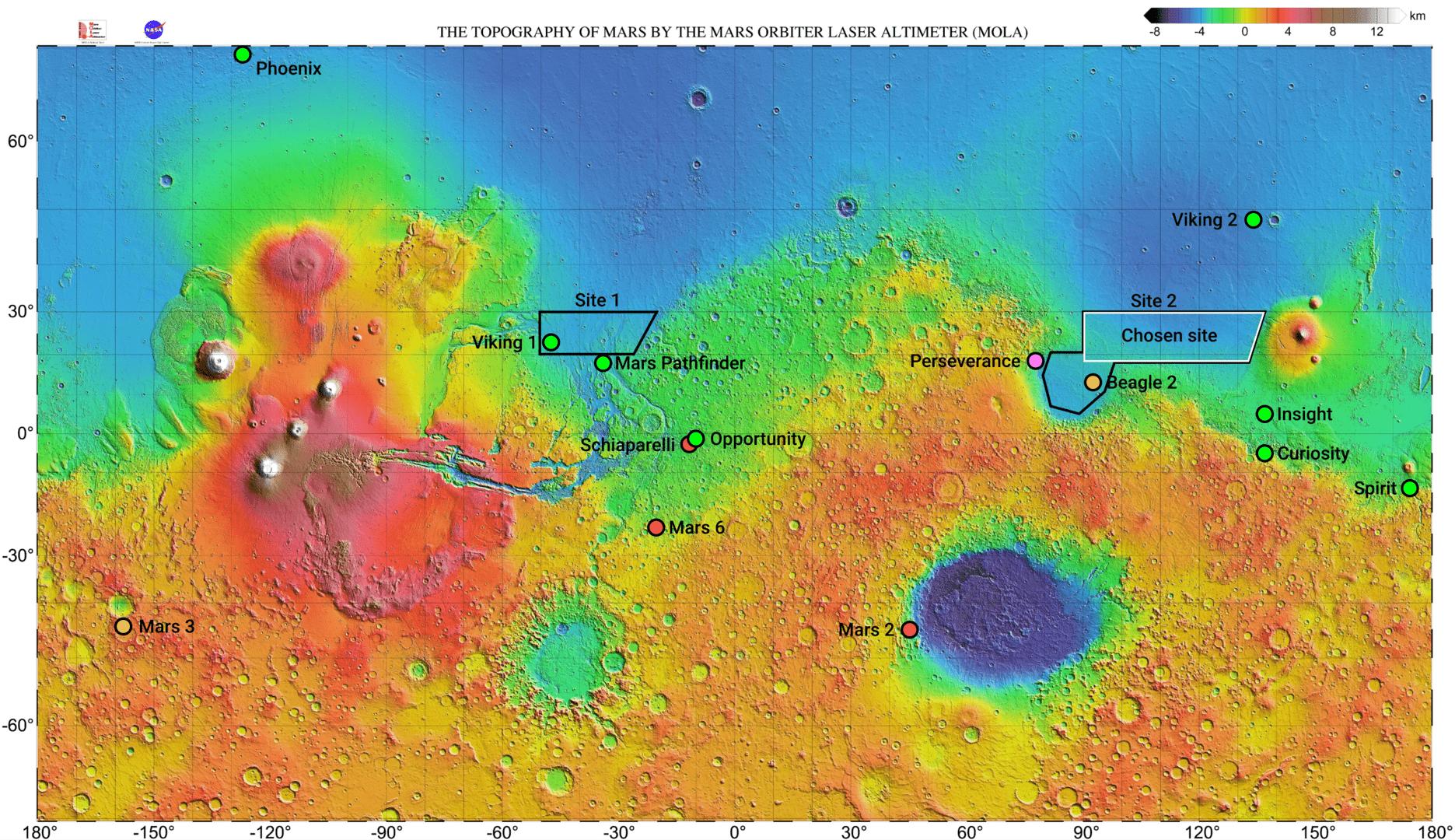 Sito di atterraggio scelto per il rover Tianwen-1 e possibili backup. La cartina mostra anche tutte le missioni sulla superficie di Marte fino ad oggi tentate. Credits: Von Kaynouky - Eigenes Werk, CC BY-SA 4.0,