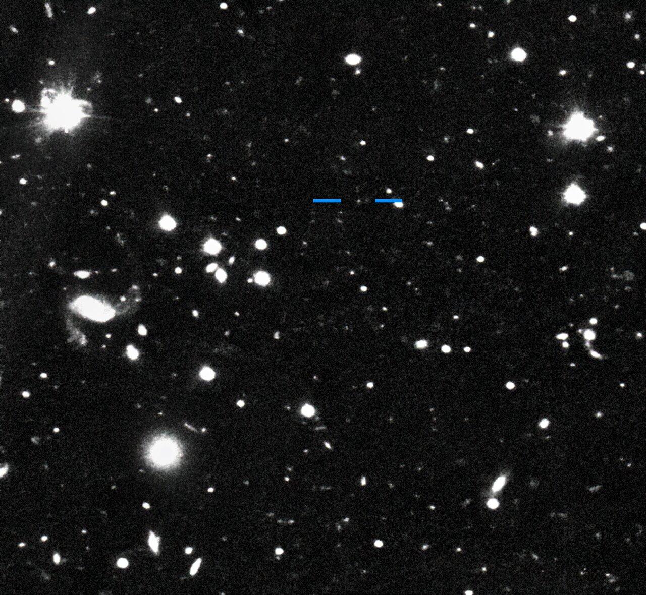 Immagine di Farfarout (2018 AG37) scatta dal Subaru Telescope il 16 gennaio 2018. Credits: S. Sheppard