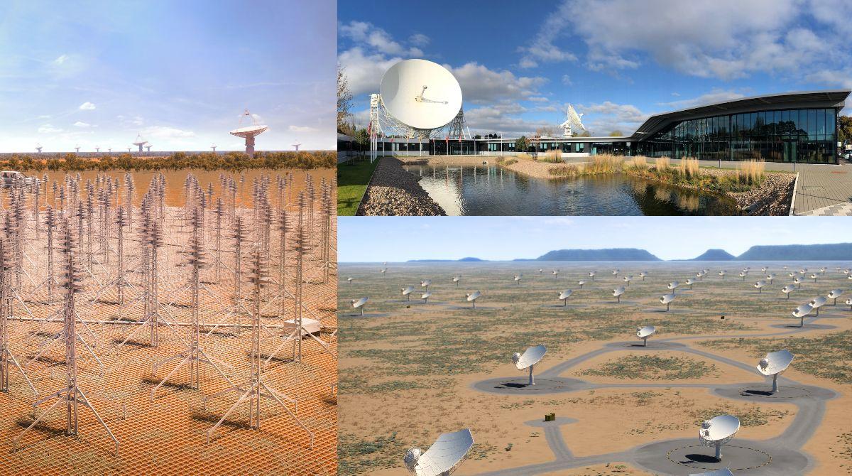 A sinistra: ricostruzione artistica di come sarà SKA in Australia;  in alto a destra: sede del consiglio direttivo di SKAO nel Regno Unito; in basso a destra: ricostruzione artistica di come sarà SKA in Sudafrica. Credits: organizzazione SKA