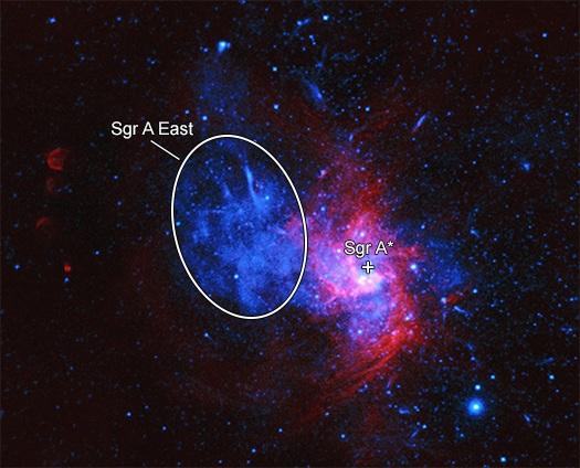 Sagittarius A East. Credits: X-ray: NASA/CXC/Nanjing Univ./P. Zhou et al. Radio: NSF/NRAO/VLA