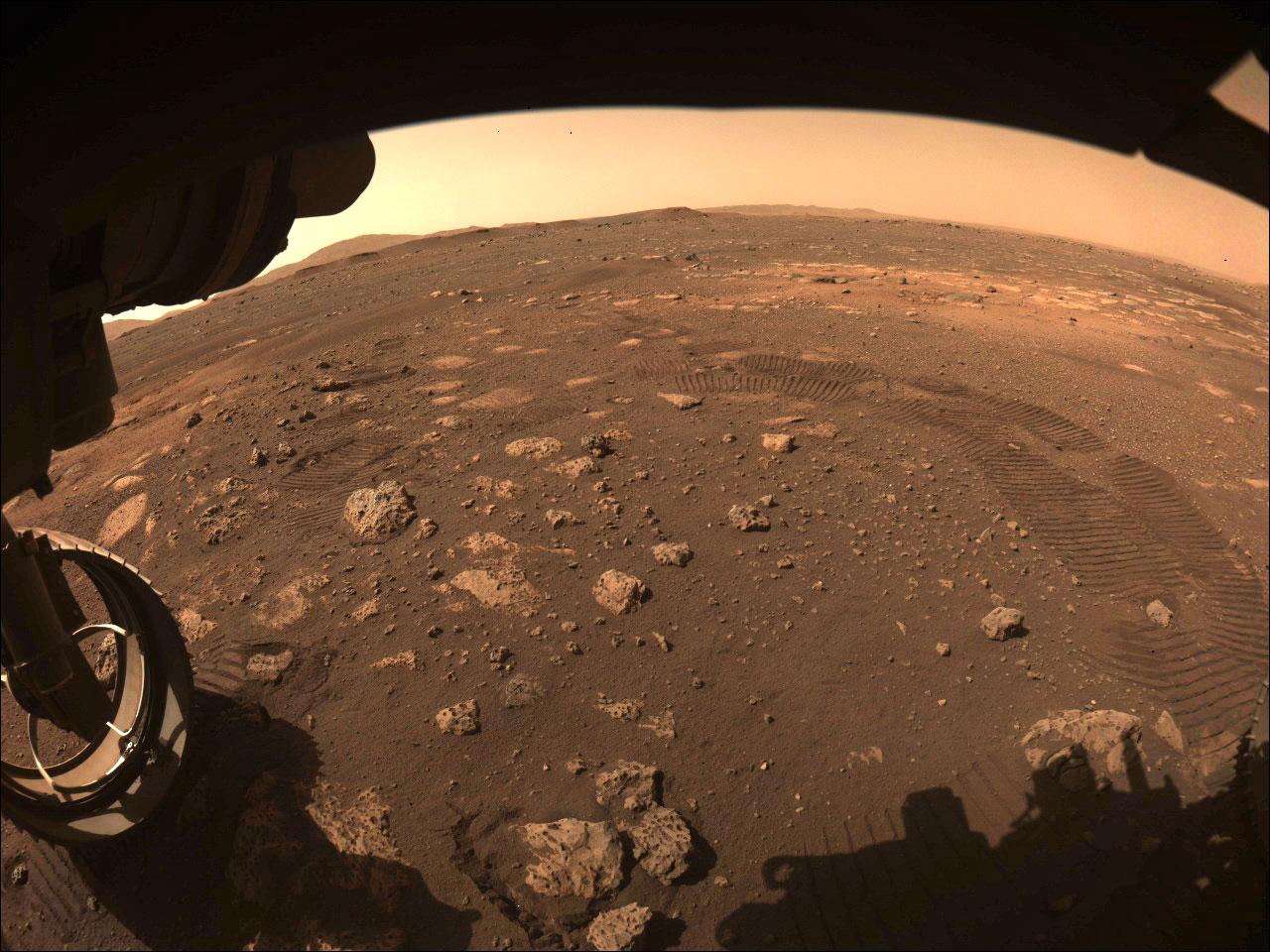 Le tracce sulla superficie di Marte della prima manovra eseguita da Perseverance. Credits: NASA/JPL