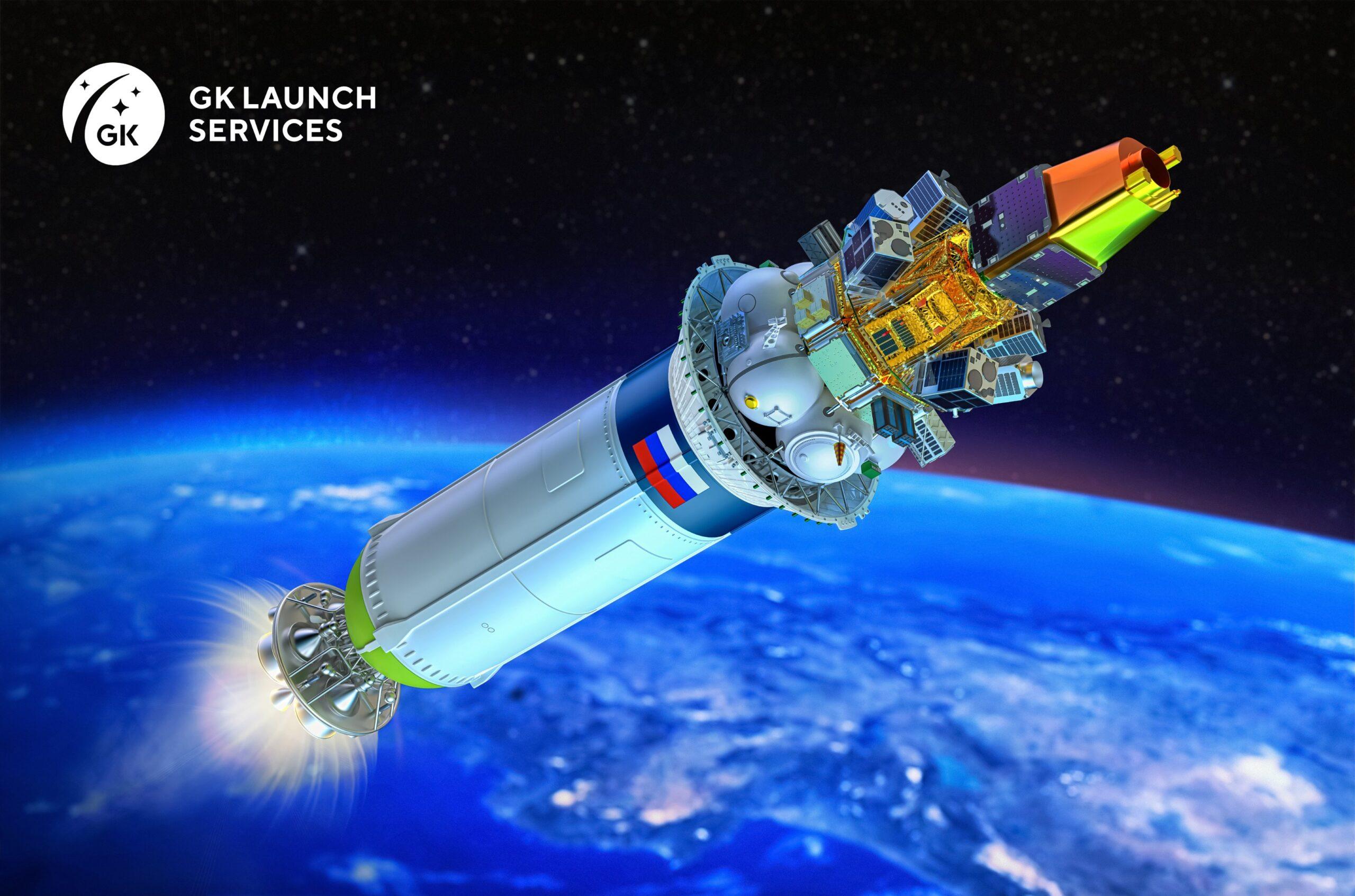 Un render del secondo stadio del vettore Soyuz-2 con i vari satelliti a bordo. Credits: GK Launch Service.