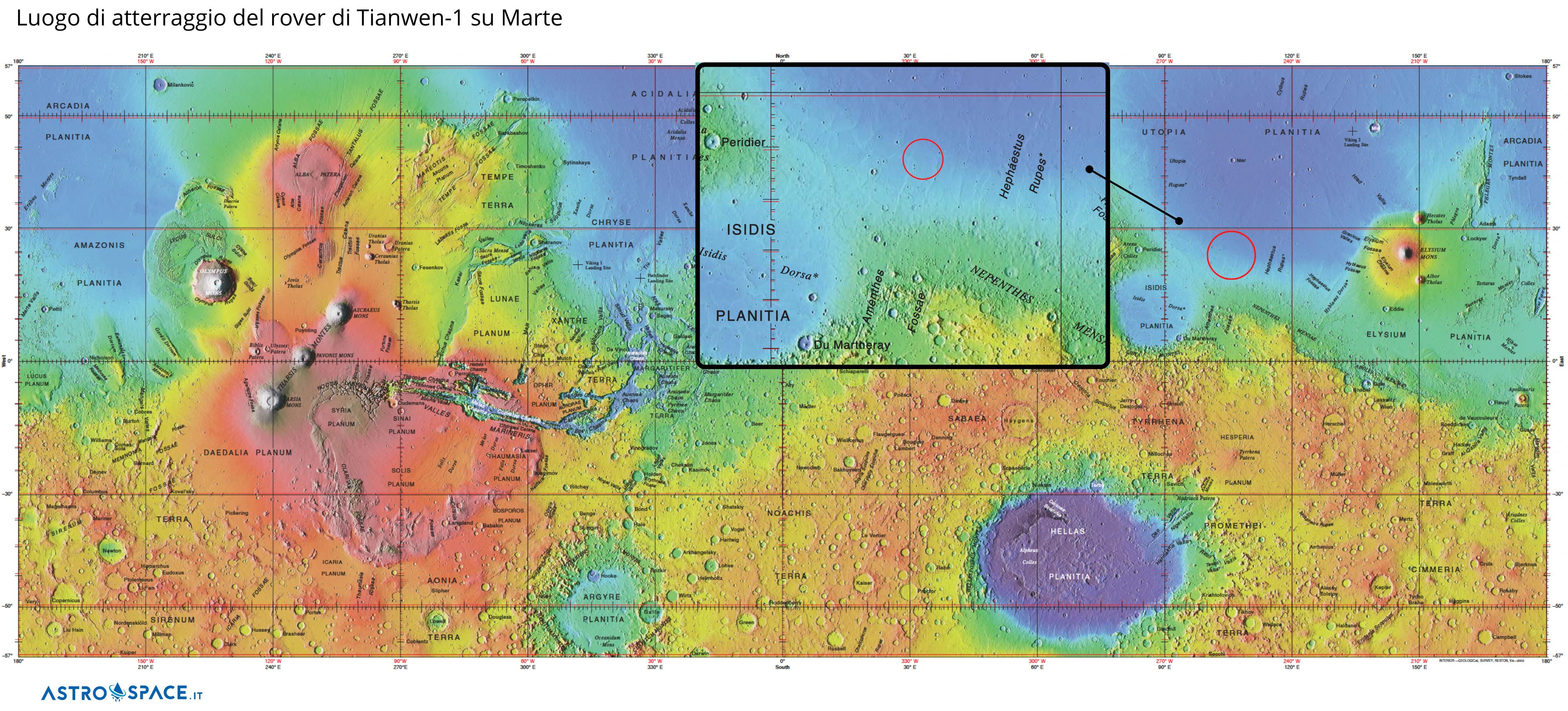 Il luogo di atterraggio del rover di Tianwen-1 su Marte. Si trova in Utopia Planitia, alle coordinate 110.318 gradi di longitudine est, e 24.748 gradi di latitudine nord. Credits: Astrospace.it/ CC BY-SA 4.0