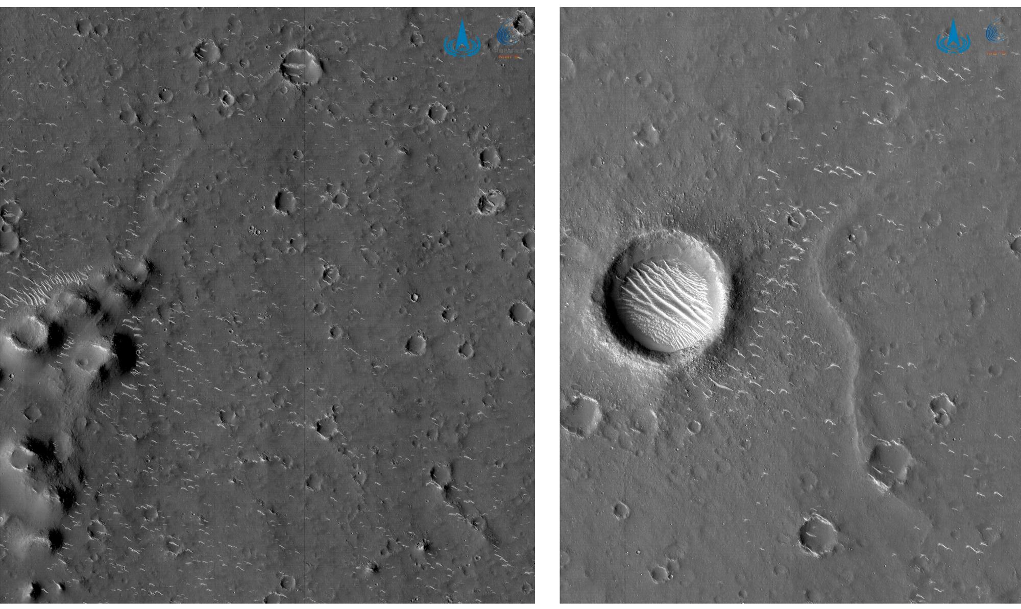 Le due nuove foto di Utopia Planitia scattate in bianco e nero dall'orbitar di Tianwen-1. Credits: CNSA.