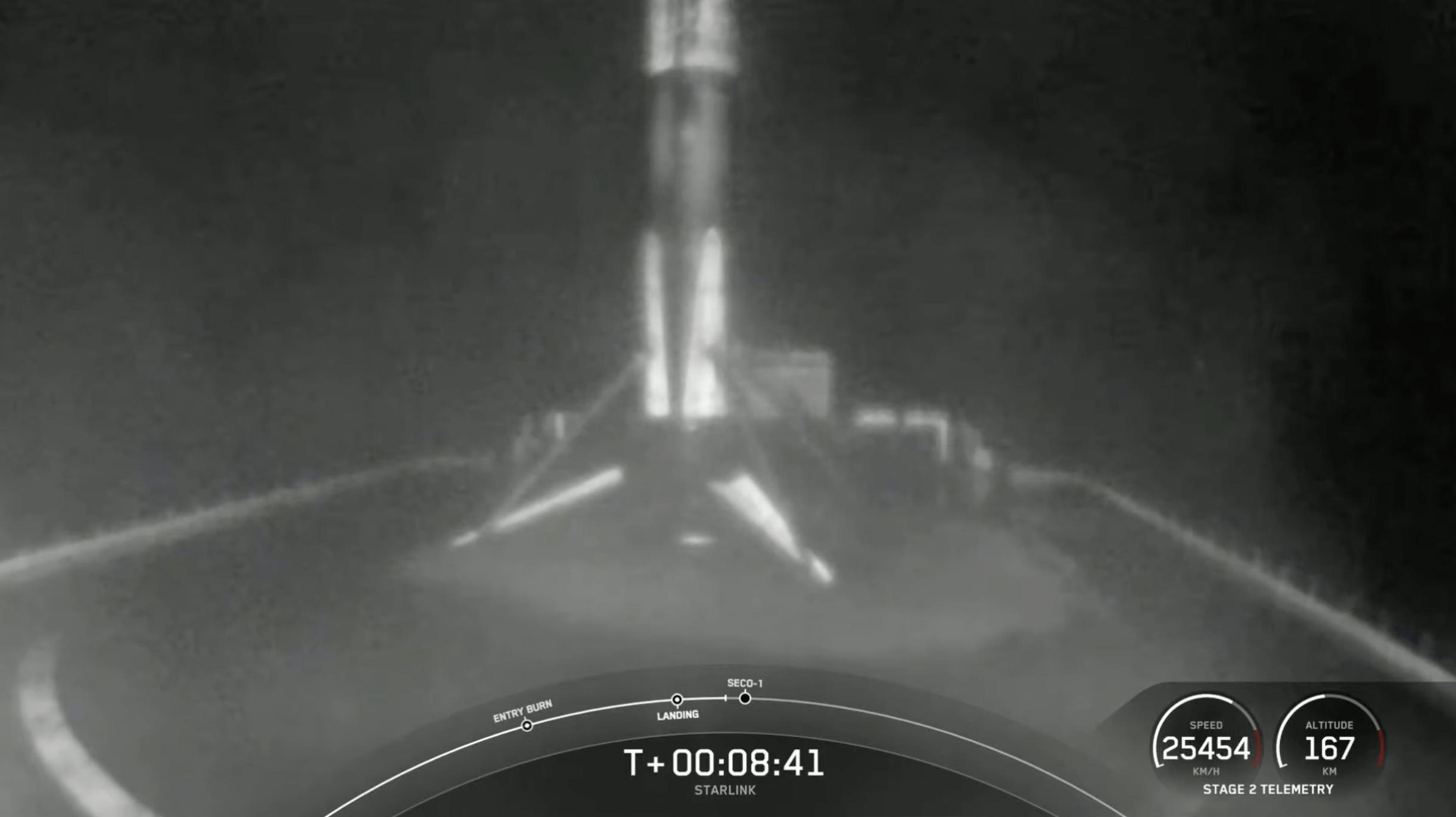 Il rientro del Falcon 9 B1058.