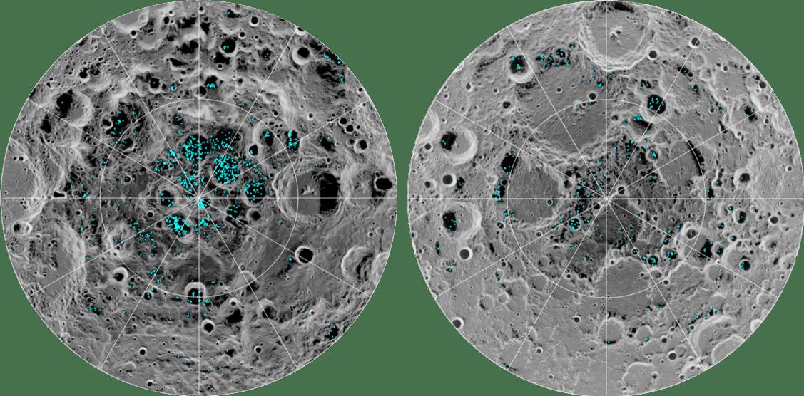 In azzurro, le possibili zone in cui dovrebbe esserci acqua, rilevate dalla Moon Mineralogy Mapper della NASA a bordo della sonda indiana Chandrayaan-1. A sinistra il Polo Sud, a destra il Polo Nord. Credits: NASA.