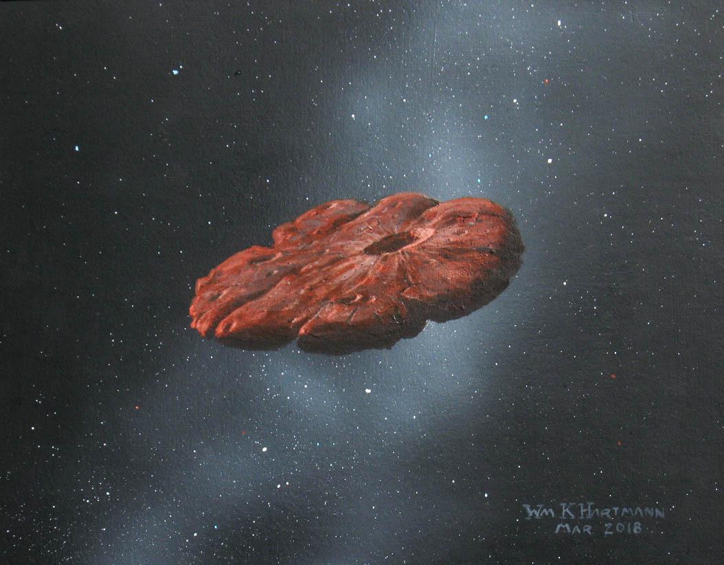 Un disegno di William K. Hartmann, Professore emerito alla Planetary Science Institute in Tucson, Arizona che ha reimmaginato la forma di Oumuamua. Credits: William Hartmann