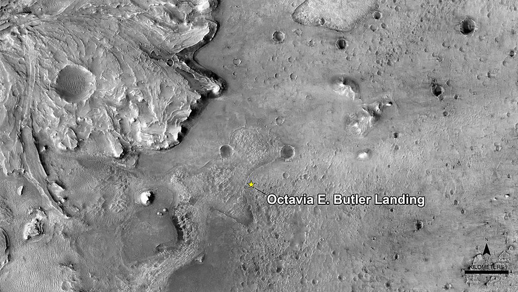 La zona di atterraggio di Perseverance, rinominata dalla NASA Octavia E. Butler Landing. Credits: NASA/JPL.