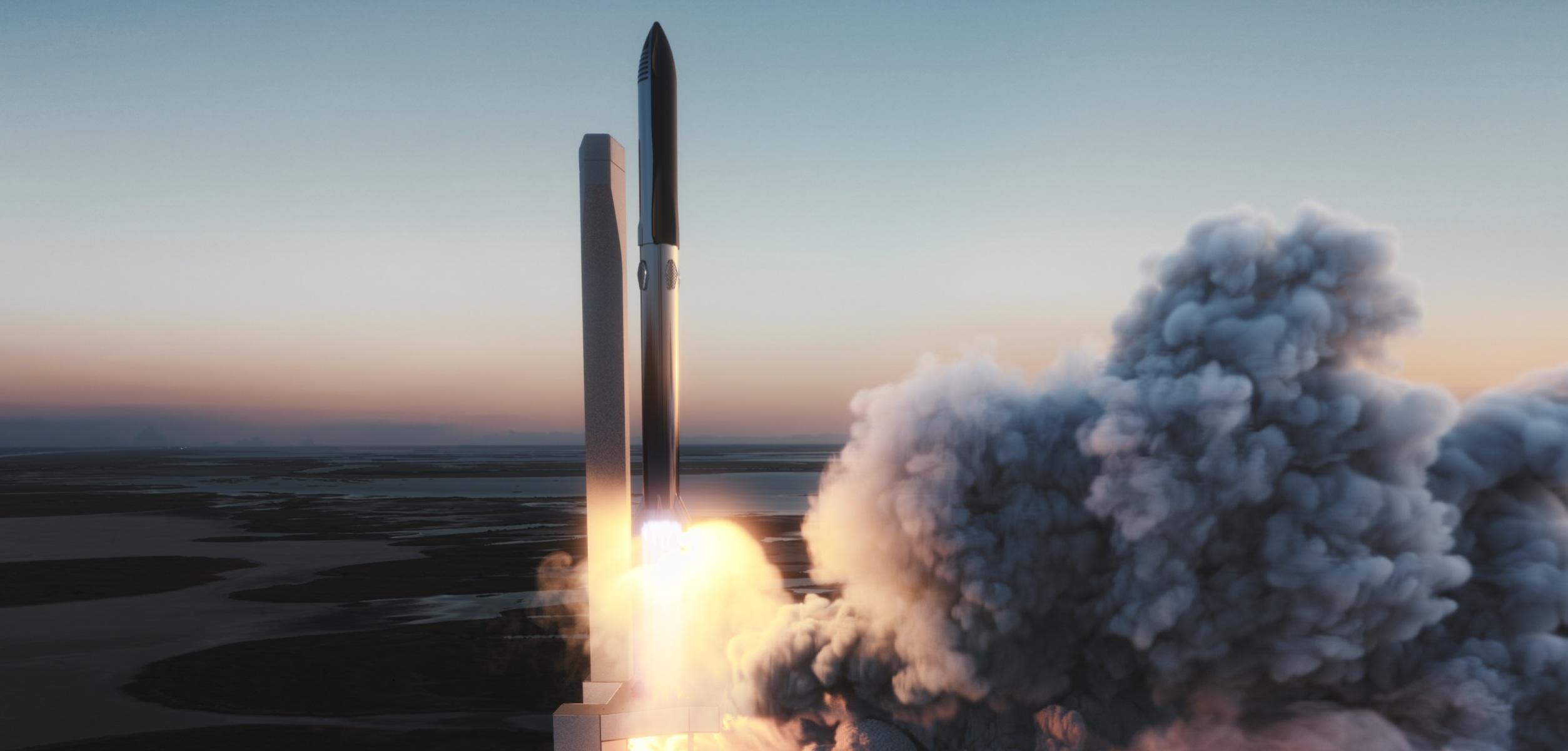 Un render della partenza di Starship nella sua versione Super Heavy + Starship. Credits: SpaceX