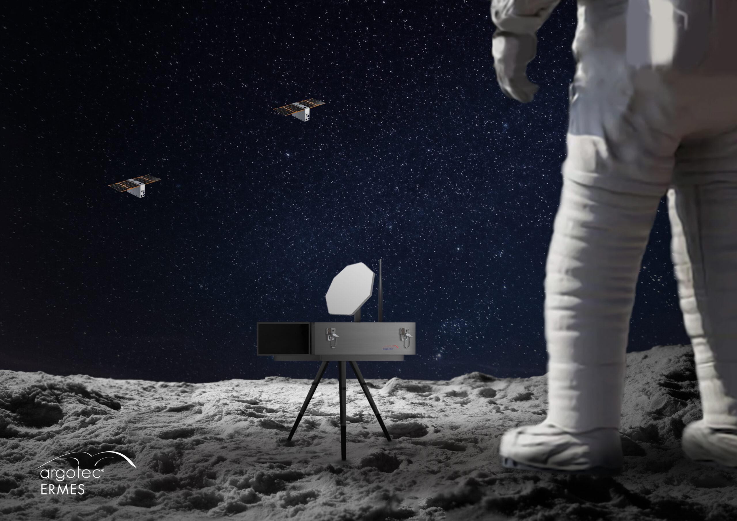 Un render del dispositivo ERMES per collegarsi alla costellazione Andromeda. Credits: Argotec / ESA.