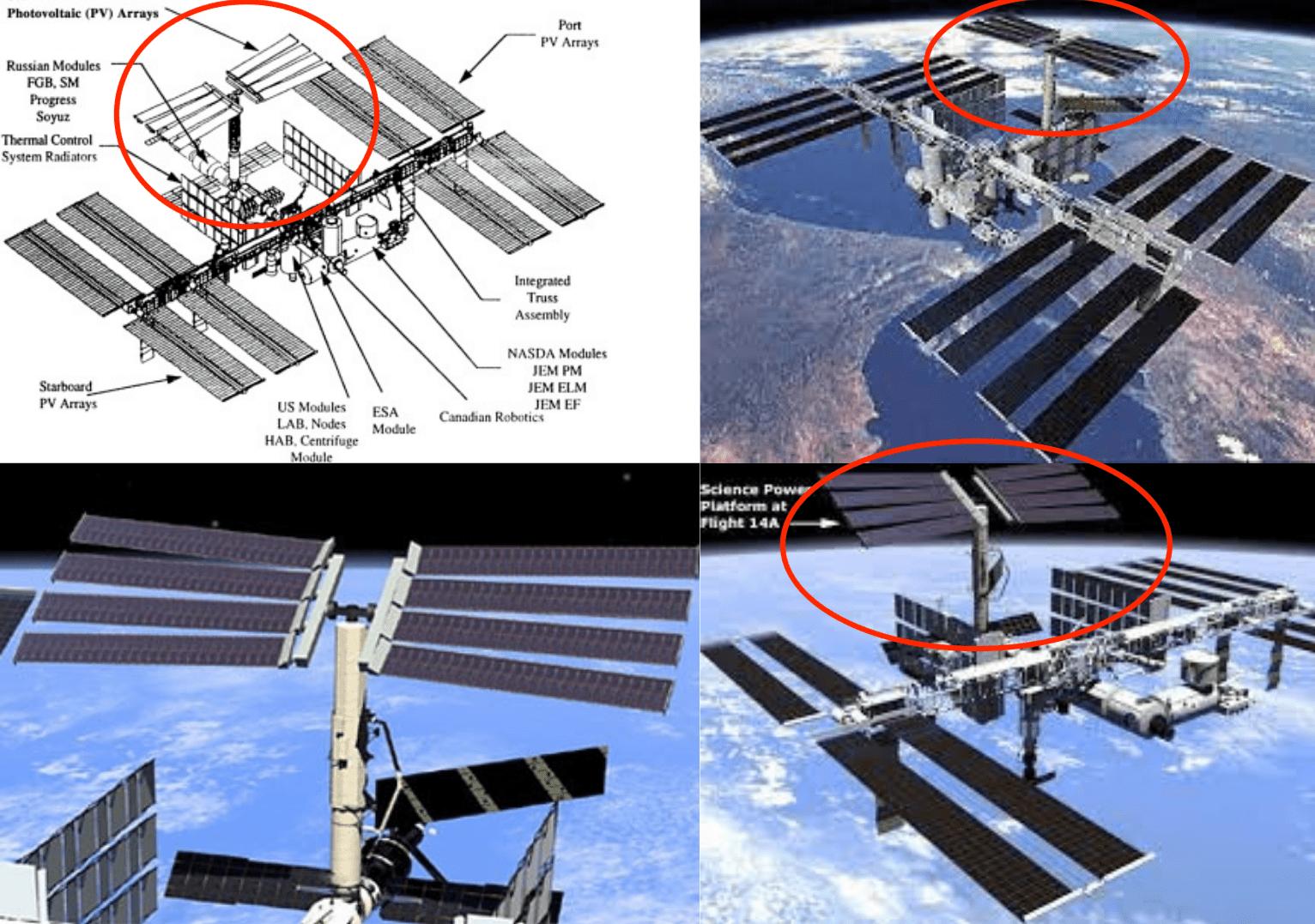 Alcuni render del modulo SPP (Science Power Platform) attraccato alla ISS. Originariamente era progettato per la Mir-2, poi sarebbe dovuto volare a bordo dello Shuttle verso la ISS e dotato del braccio robotico europeo ERA (che sarà invece montato sul modulo russo Nauka). Credits: NASA/Roscosmos.