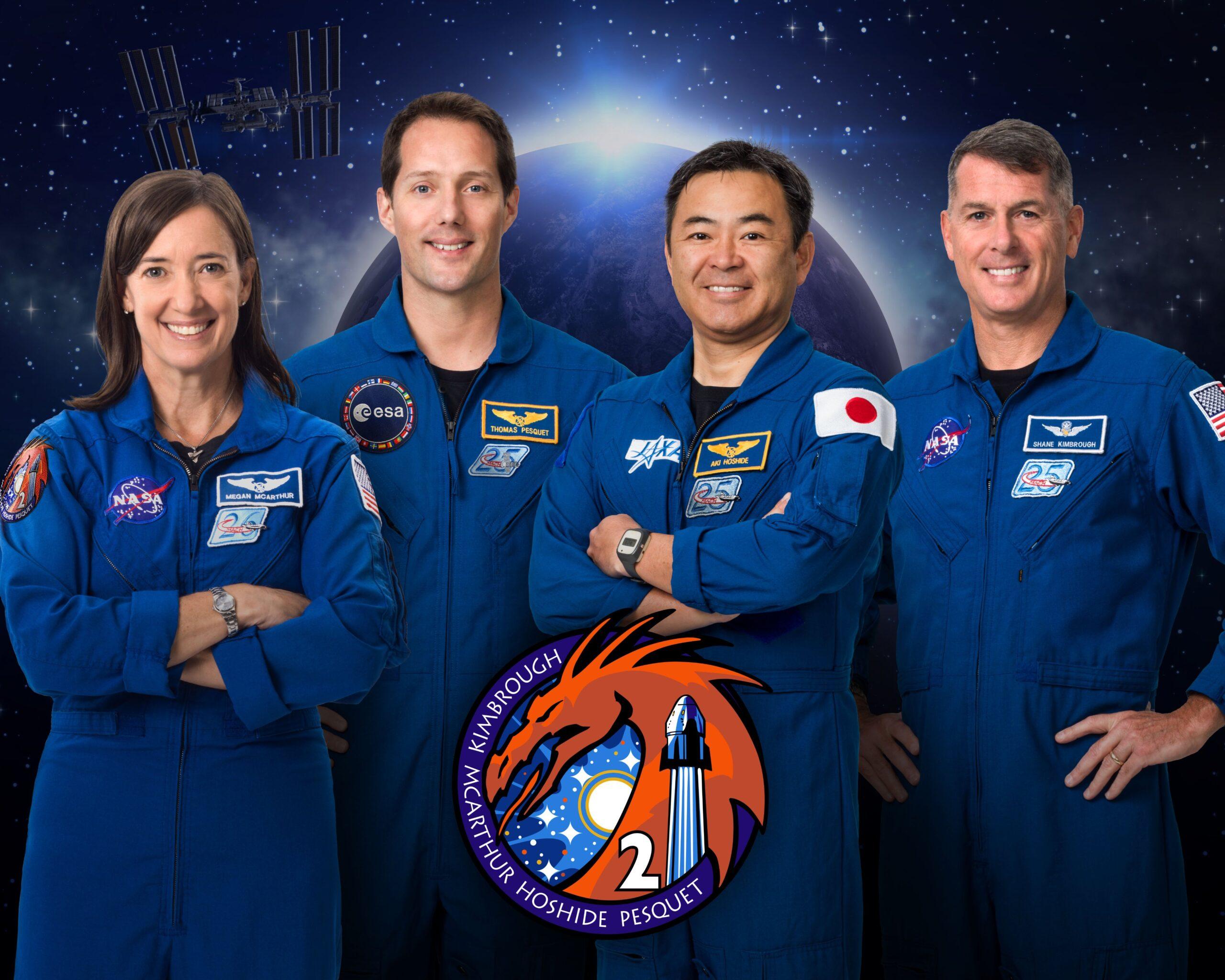 L'equipaggio della missione Crew-2. Da sinistra: Megan McArthur Thomas PesquetAkihiko Hoshide Robert Kimbrough. Credits: NASA.