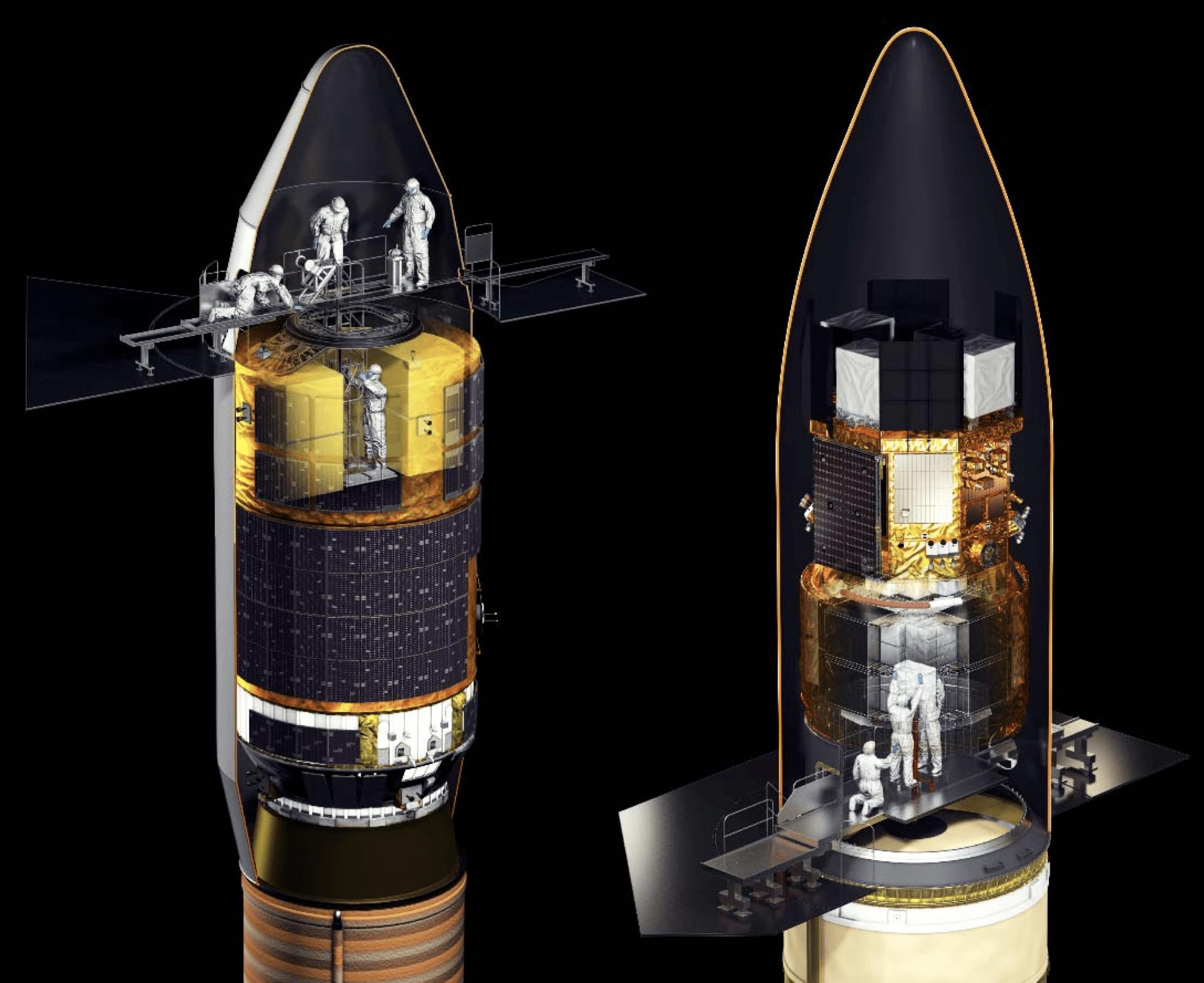 A sinistra l'accesso alla capsula HTV-II a bordo del vettore HII. A destra l'accesso alla capsula HTV-X nel fairing del lanciatore H3. Credits: JAXA.