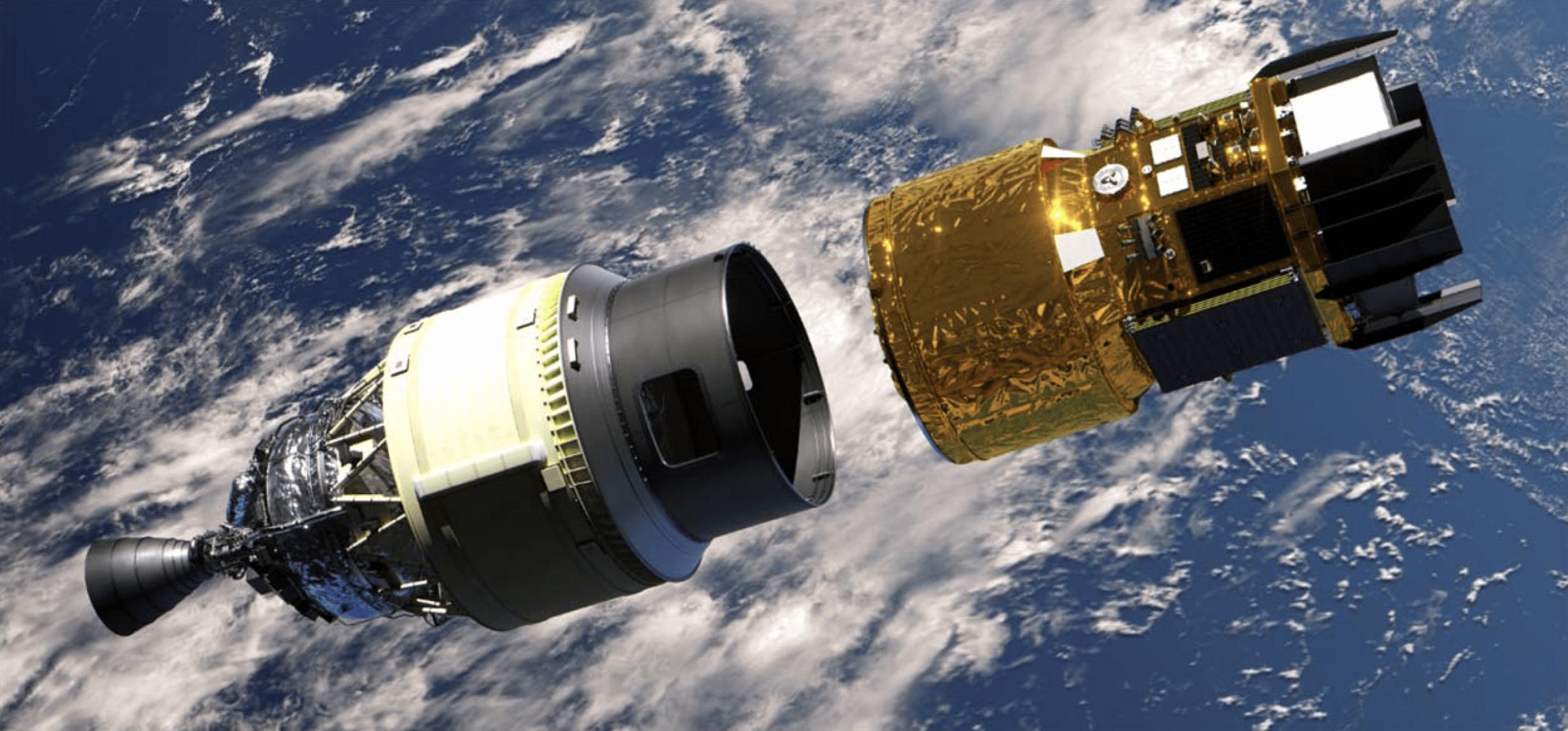 Render della capsula HTV-X nel momento di separazione dal nuovo PAF (payload fairing adapter) del vettore H3. Credits: JAXA.