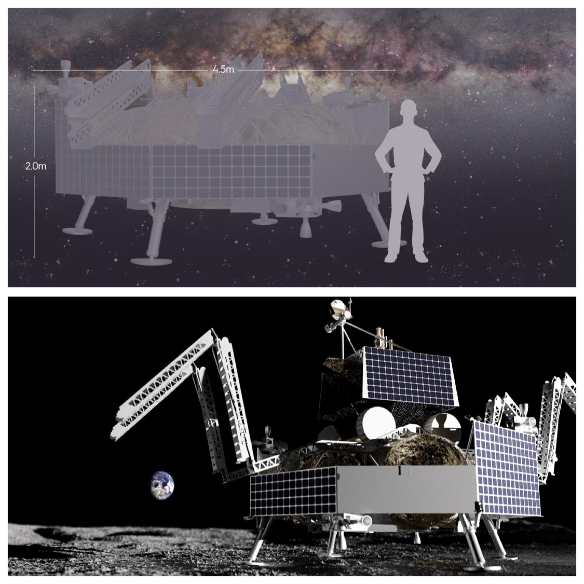 Un render del lander Griffin che trasporterà VIPER sulla Luna a bordo del Falcon Heavy.