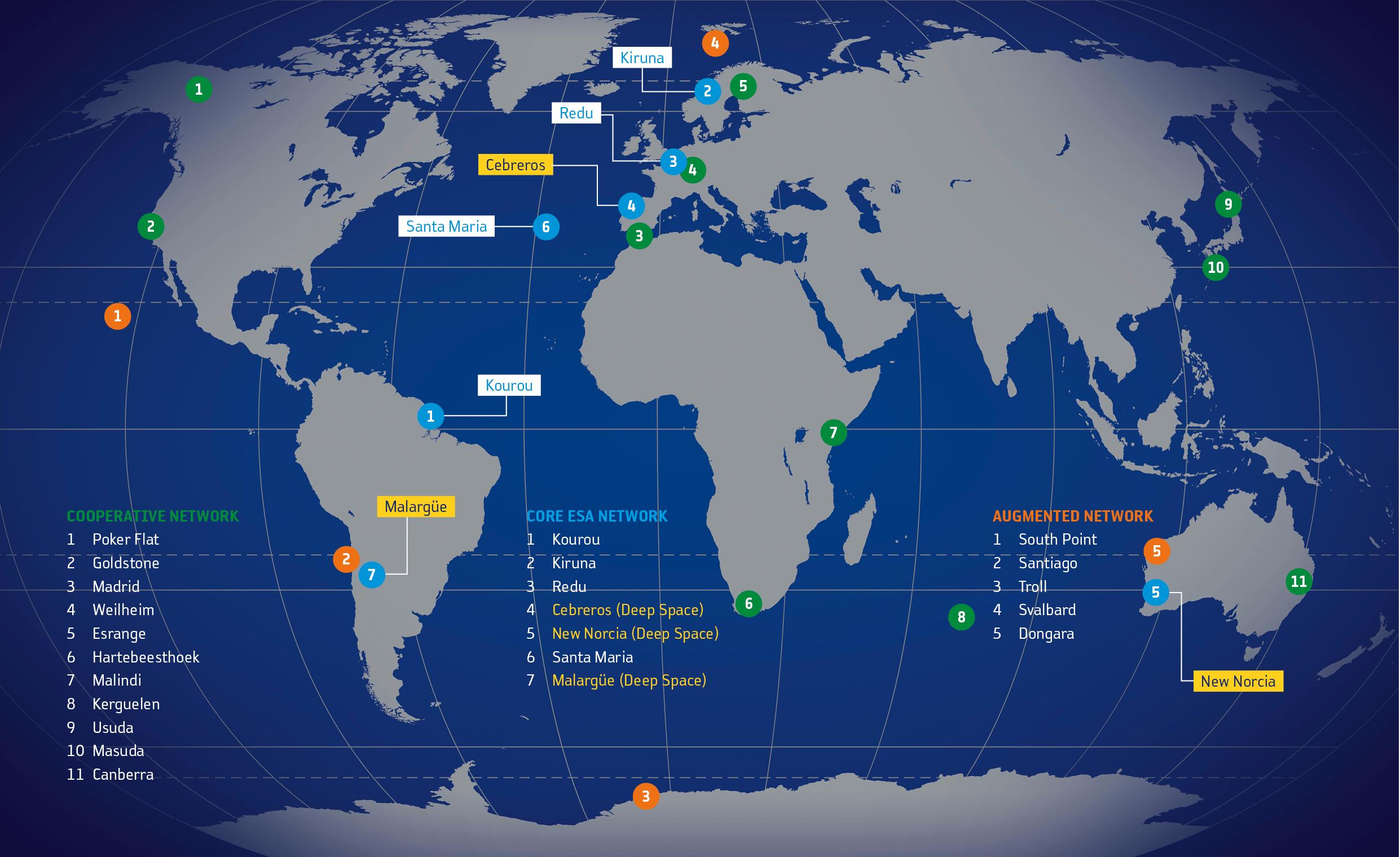 La rete delle stazioni Estrack (In blu) e delle stazioni partner (in verde). Credits: ESA.