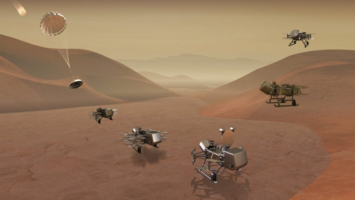 Un render della missione Dragonfly su Titano. Credits: NASA.