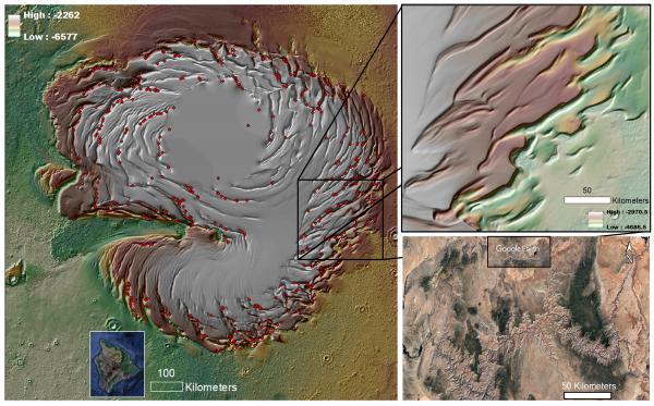 zoom struttura a spirale, depressioni geologiche di Marte