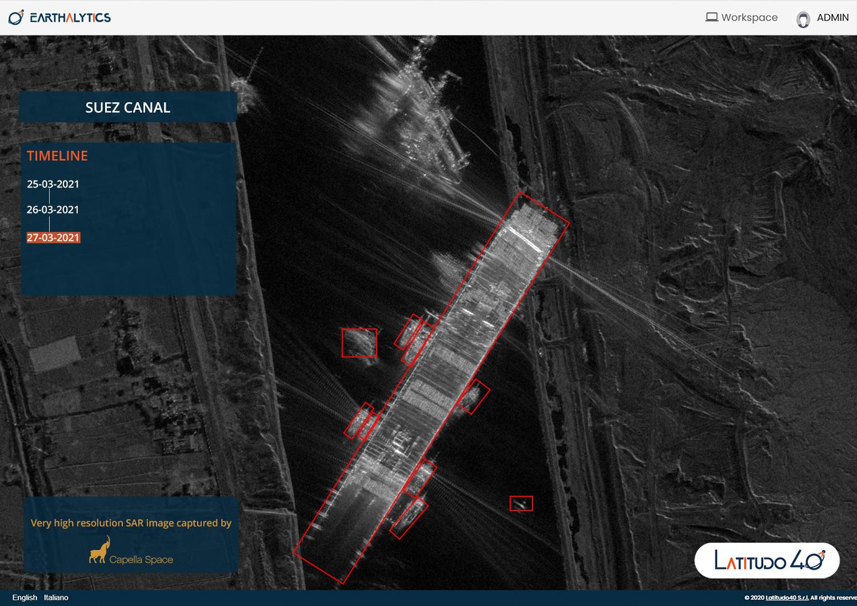 Foto della nave Ever Given di un satellite SAR di Capella Space. Analisi: Latitudo40