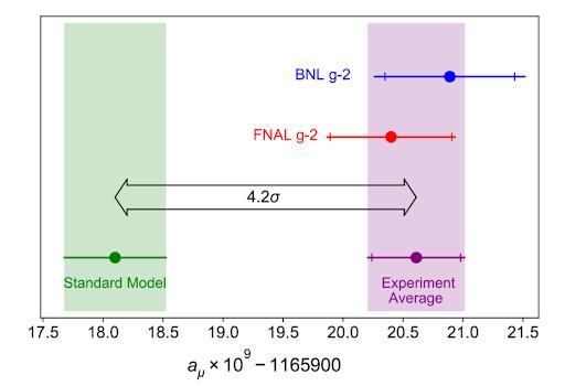 Misure sperimentali di BNL e Fermilab (FNAL) a confronto con il Modello Standard.