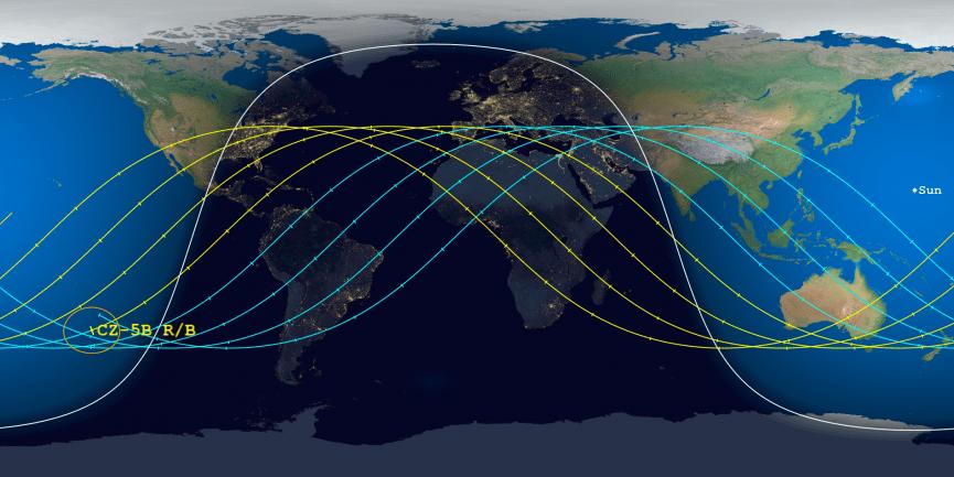 Tracciamento del primo stadio del LM5B. Le orbite in Giallo rappresentano i possibili rientri nelle ore precedenti alle 03:01 di notte del 10 maggio. Le orbite in blu rappresentano i possibili rientri nelle ore successive. Credits: Arsospace.org