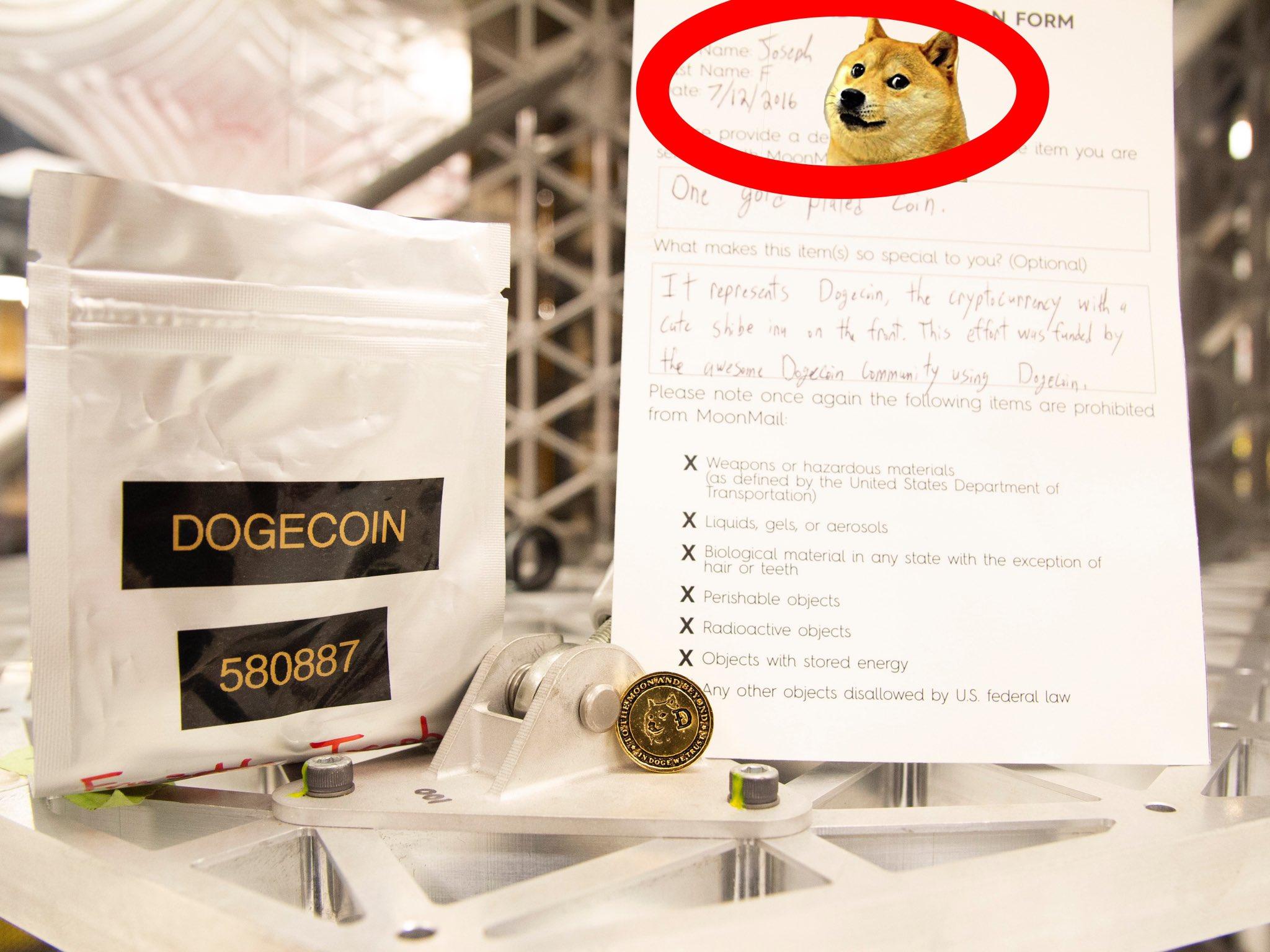 Il Dogecoin di Astrobotic. Credits: Astrobotic