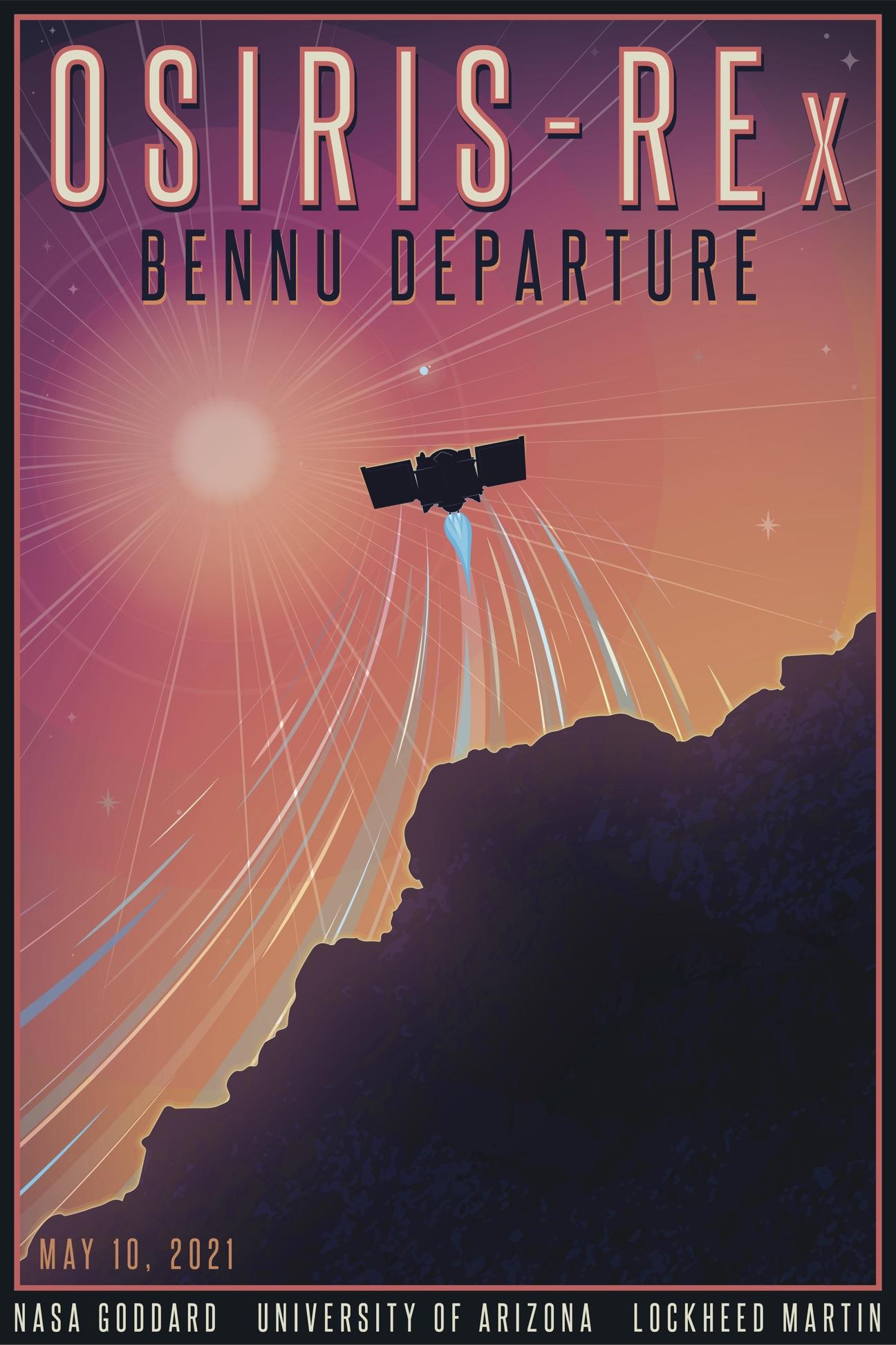 Il poster creato dalla NASA per la partenza di OSIRIS-REx da Bennu. Credits: NASA