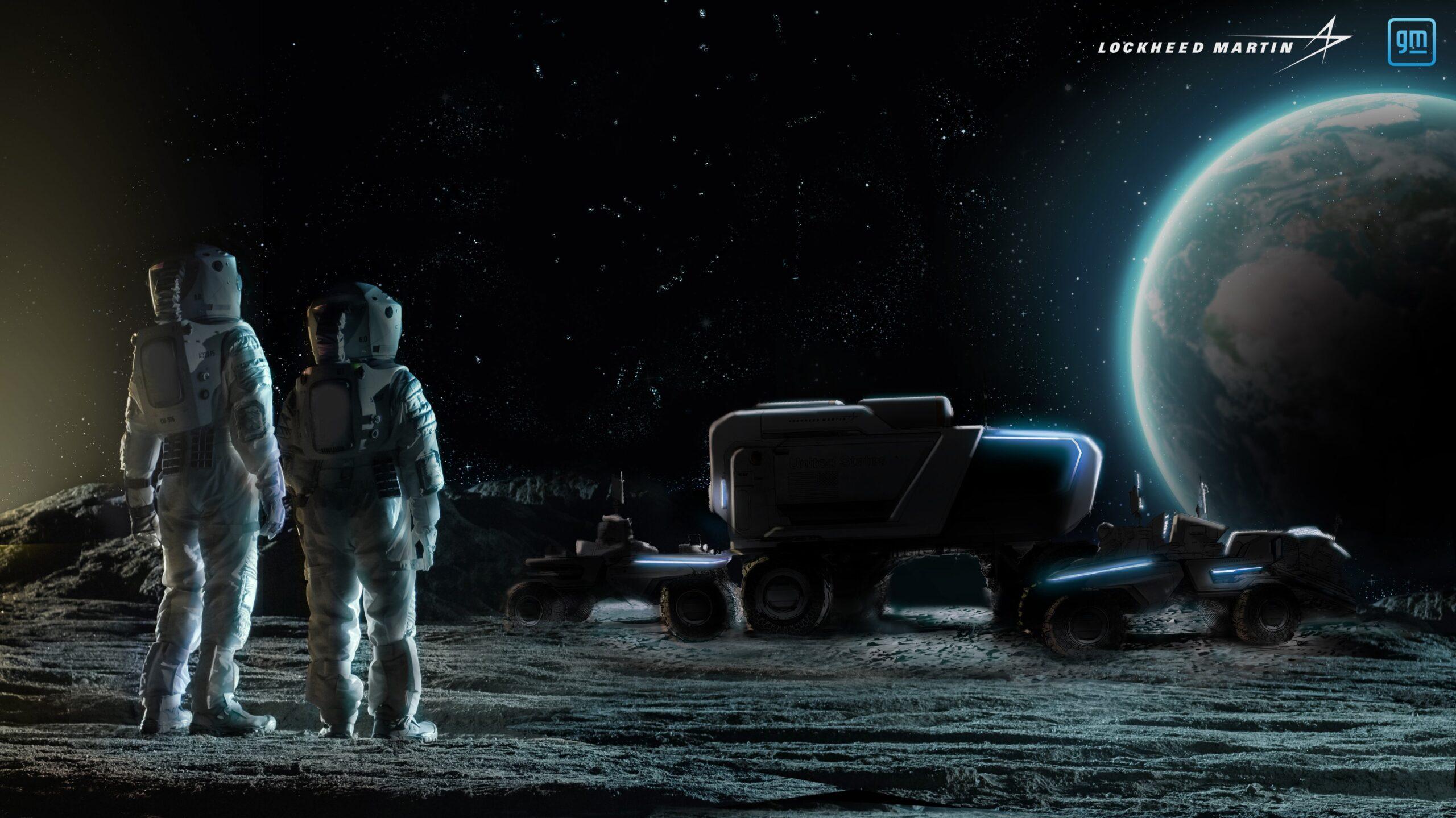 Un render dei progetti di rover di Lockheed Martin e General Motors. Credits: Lockheed Martin.