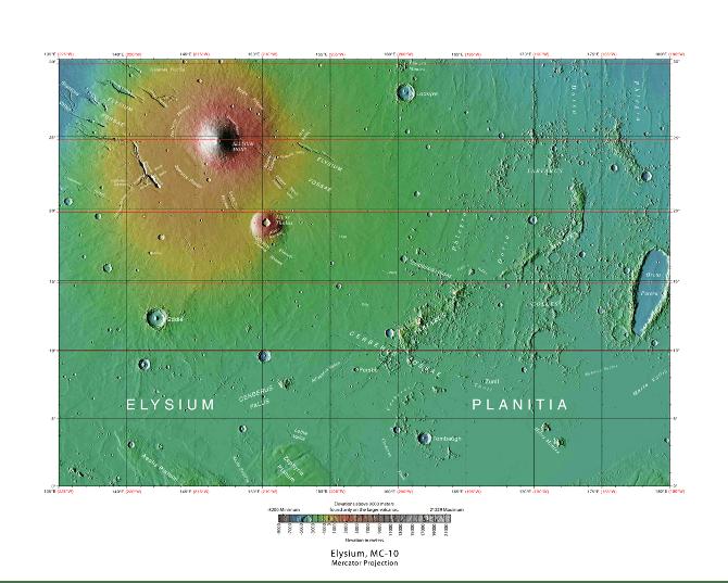 Mappa dell' Elisium Planitia.