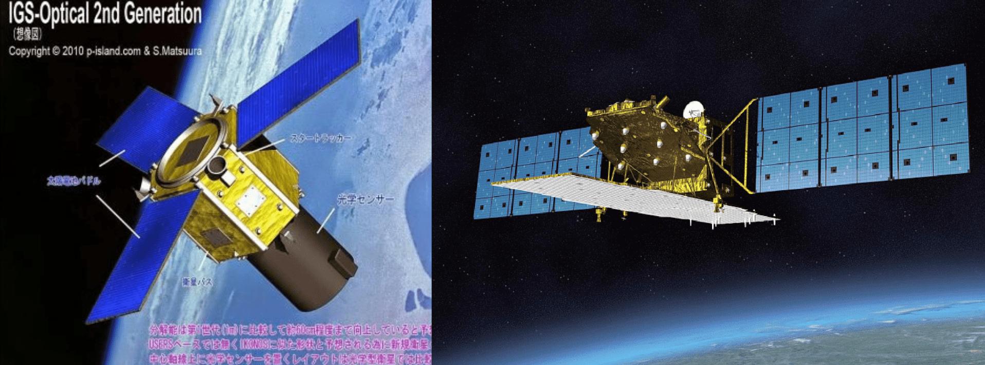 A sinistra un render di un satellite IGS, a destra il ALOS-2.