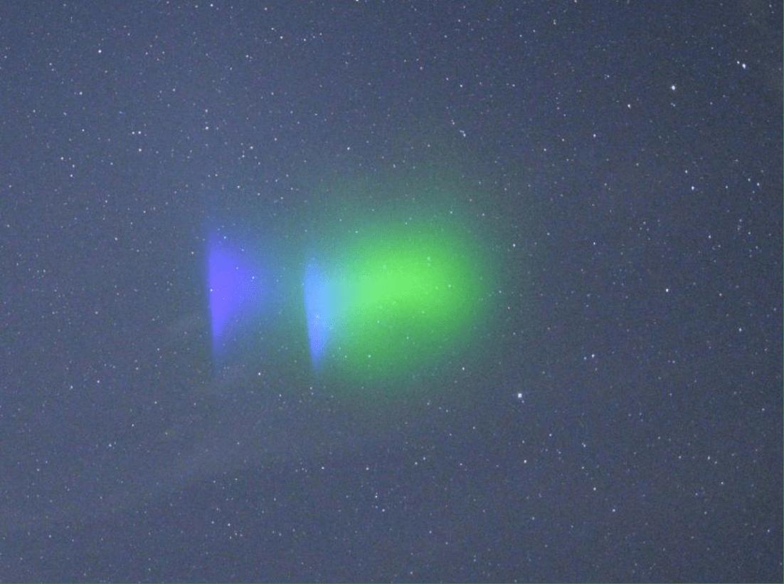 L'effetto ottenuto in alta quota con l'esperimento KiNet-X. Credits: NASA Wallops.