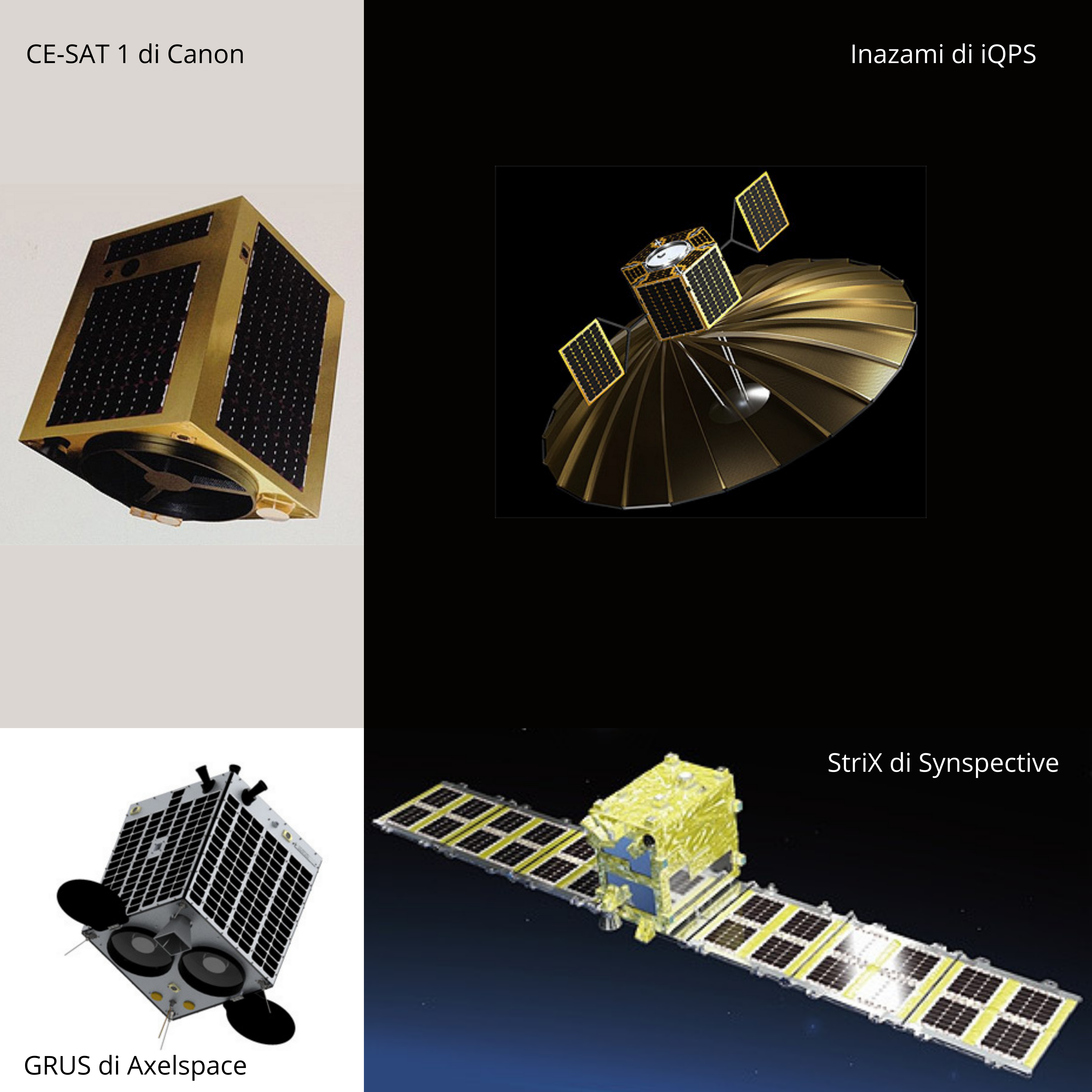 Quattro satelliti del settore commerciale di Osservazione Terrestre giapponese. osservazione terrestre