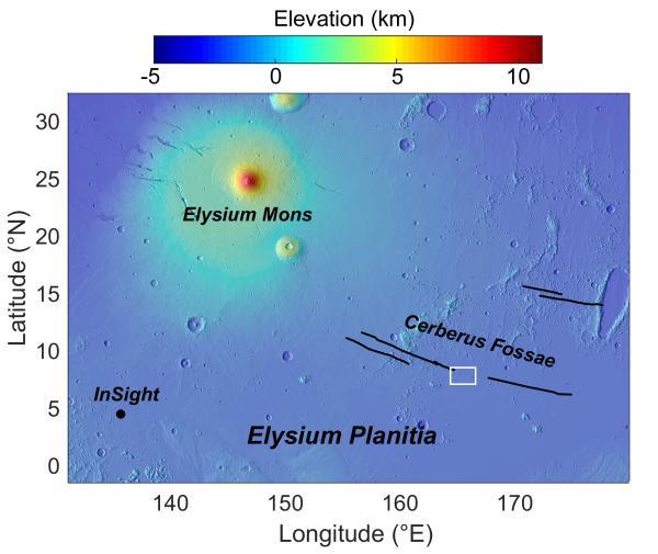 Un'altra mappa di Elisium Planitia con la posizione di Insight.